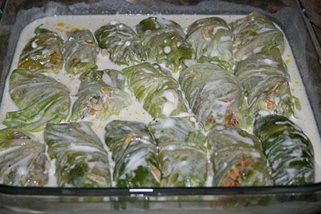 Голубцы с грибами, запеченные в духовке